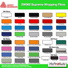 Vinyl Wrap Color Chart Color Chart All 3m And Avery Vinyl Color Samples