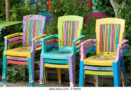 brightly painted furniture. colorful painted chairs in garden stock image brightly furniture