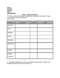 The Odyssey Character Chart The Odyssey Book 1 Notes Worksheet