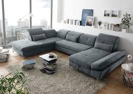Details Zu Couch Melfi Sofa Schlafcouch Wohnlandschaft Schlaffunktion Grau Dunkel U Form