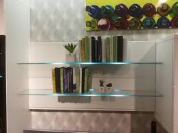 bar glass shelves attractive bookcase with led shelf lights wall mounted inside 3