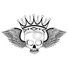 Fototapeta Tetovací Lebka S Korunou A Křídly Kreslení Vektorové Ilustrace