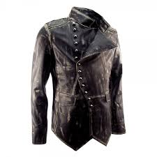 impero london signature mens military fitted distressed leather jacket
