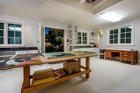 diy home art studio home office contemporary with craft room french doors ceiling lighting