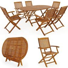 Salon de jardin Boston Ensemble 1 Table et 6 Chaises Bois d'acacia