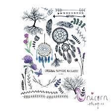 Velké Nalepovací Tetování Lapače Snů A Rostlinky