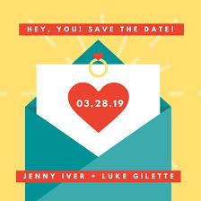 date night invitation template yellow and blue cute envelope illustration save the date invitation