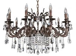 avelli 10 light crystal chandelier in sienna bronze with antique silver leaf accents and firenze fleet