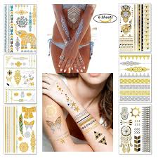 Temporary Boho Metallic Tattoos For Women Girls Gold Silver Shimmer Designs Jewelry Tattoos 80