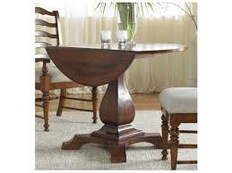 furniture waverly place distressed antique cherry 44 wide round drop leaf pedestal dining