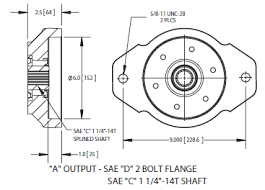 82 series power take off a output sae d 2 bolt flange sae c 1 1 4 14t shaft ·