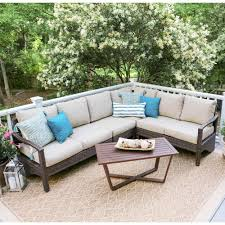 outdoor sectional home depot. Leisure Made Augusta 5-Piece Wicker Outdoor Sectional Set With Tan Cushions Home Depot C