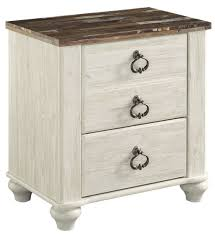 Image Mineral Paint Willowton Twotone Two Drawer Night Stand Goedekers Signature Design By Ashley Willowton Twotone Two Drawer Night Stand