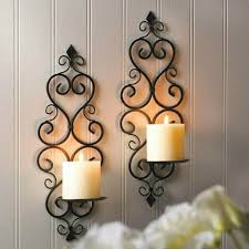 pair of iron glass wall candle sconce