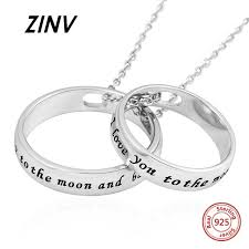 sterling silver 925 double circles pendant necklaces i love you to the moon and back diy