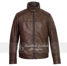 double shaded waxed zip pocket belted neck mens leather jacket front view with belt closure
