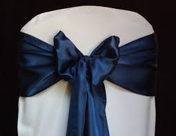 50 navy blue satin chair sashes for wedding