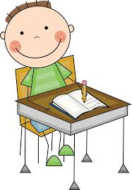 desk clipart black and white. black and white clipart of a student working at desk