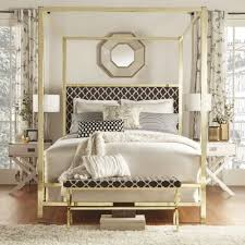 Inspire Q Solivita King Sized Canopy Gold Metal Poster Bed Tufted Off White  Linen