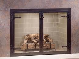 image of masonry fireplace doors glass
