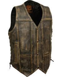 zoomed image milwaukee leather men s brown distressed 10 pocket vest 3x black tan hi
