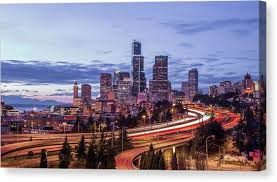 seattle at dusk canvas print on seattle wall art prints with seattle art wall canvas prints