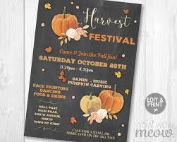 Harvest Festival Fall Chalk Invite Wow Wow Meow