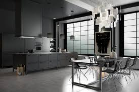This dark kitchen is decorated in moody colors with a distinct masculine  feel