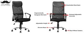 moustache ergonomic adjule high back mesh office chair