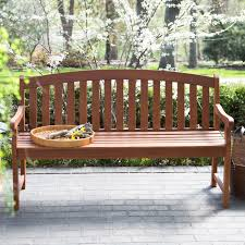 Coral Coast Amherst Curved Back Outdoor Wood Garden Bench - Natural |  Hayneedle