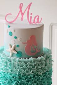 Ruffled Two Tier Mermaid Cake with name topper