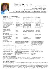 Musical Theatre Resume Musical Theatre Resumes Cosy Musical Audition Resume Sample For 12