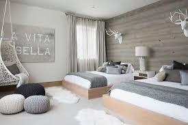 warm bedroom design. Stunning Scandinavian Bedroom Decor With Warm Wooden Wall And Grey Palette Design