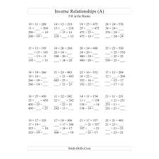 Multiplication Frenzy Worksheet Amazing Algebra Worksheet Inverse Relationships Multiplication And