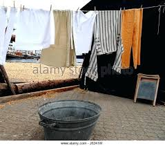 bathtub clothesline wash washing dry clothesline laundry bath tub tub bathtub washboard hanged stock image