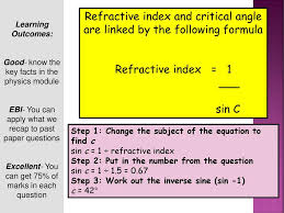 64 calculate the critical angle for glass refractive index