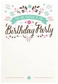 Invitation Templates Birthday Flat Floral Free Printable Birthday Invitation Template 5