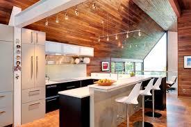 Wood ceiling kitchen Kitchen Island Trendir Kitchen With Wooden Walls And Ceiling