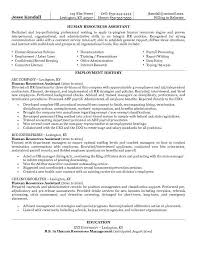 Example Human Resources Assistant Resume Free Sample Interview
