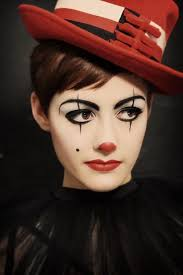 clown makeup easy woman disguise red nose and lips contorted eyes