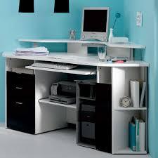 image of modern black and white corner computer desks