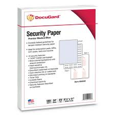 Papers Paper Medical Security Papers 24lb 8 5 X 11 Blue 500 Ream