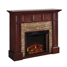 faux stone media electric fireplace in whiskey maple