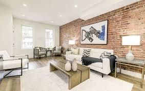 exposed brick wall living room design