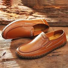 <b>Large Size Men</b> Hand Stitching Comfy Soft Sole Slip On <b>Leather</b> ...