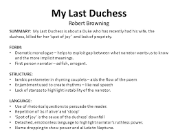 robert browning my last duchess dramatic monologue f f info