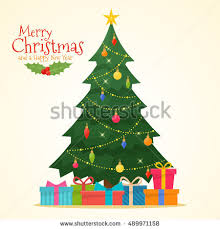 Decorating Christmas Tree With Balls Decorated Christmas Tree Gift Boxes Star Stock Vector 100 28