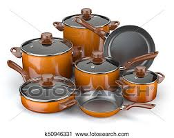 Image Kitchen Gadgets Fotosearch Pots And Pans Set Of Cooking Kitchen Utensils And Cookware Clip Art