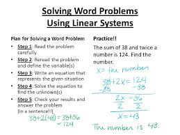 solving word problems using systems of linear equations algebra 1