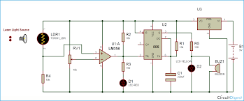 laser security alarm circuit diagram using ic 555 and lm358 laser security alarm circuit diagram
